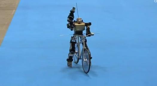 自転車に乗っているロボット