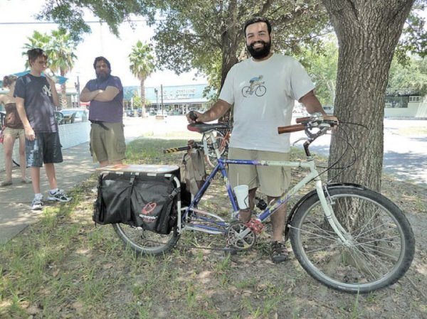 Here's Abhi with his pre-bus-accident xtracycle